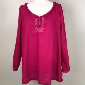 BIT & BRIDLE Embroidered Pink Cotton Peasant Shirt